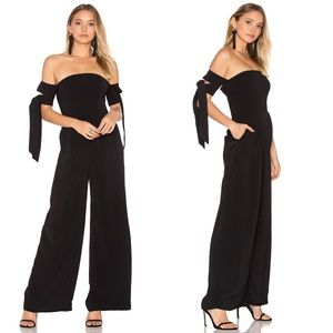 C/MEO CHARGED UP BLACK OFF-THE-SHOULDER MIDI DRESS